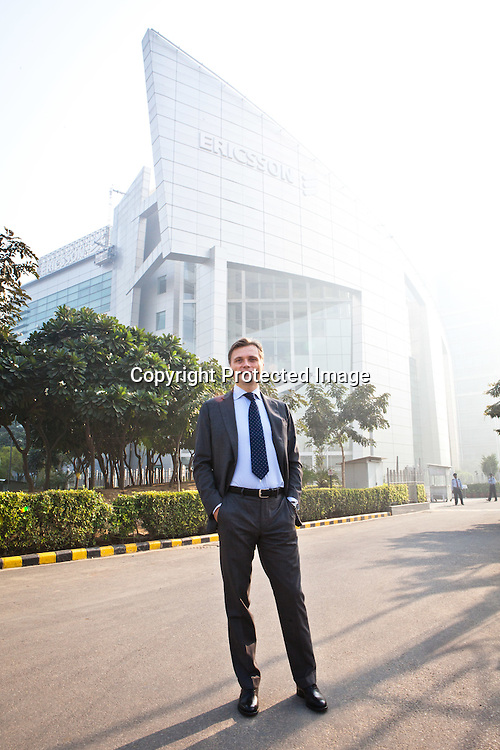 Fredrik Jejdling, President - Ericsson India poses for a portrait outside his office in Gurgaon, Haryana, India. Photo: Sanjit Das