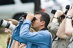 Birdwatchers, Willy Alfaro, with binoculars, La Selva Biological Reserve, Costa Rica.
