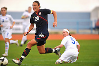 Abby Wambach advances the USA's attack vs. Iceland.  The USWNT defeated Iceland (2-0) at Vila Real Sto. Antonio in their opener of the 2010 Algarve Cup on February 24, 2010.