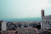 Italy: Gubbio--Panorama from Ducal Palace Garden; Consul's Palace on right. Photo '83.
