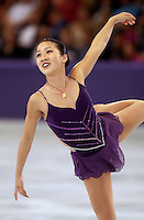 "Michelle Kwan of USA performing in October, 2001 during early warm-up competition called ""Masters of Figure Skating"", before Salt Lake City 2002 Olympics . (Photo by Tom Theobald)"