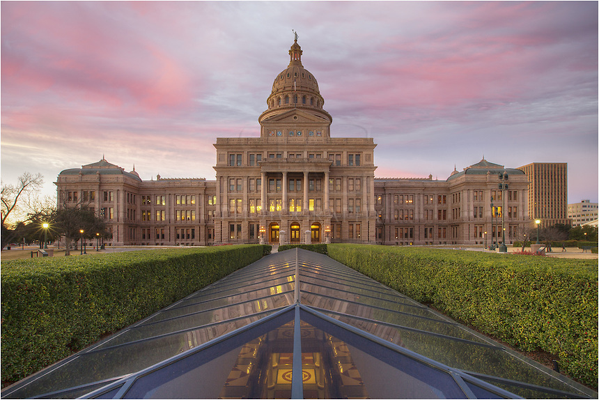 Soft pinks and blues gave the sky color on this wonderful morning sunrise over Austin, Texas, and the state capitol building. This capitol image was taken looking south on what is considered the back side of the building, but still photo-worthy.