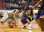 "Mississippi's Jelan Kendrick (45) loses the ball against LSU's Andre Stringer (10) for a turnover at the C.M. ""Tad"" Smith Coliseum in Oxford, Miss. on Saturday, February 25, 2012. (AP Photo/Oxford Eagle, Bruce Newman).."