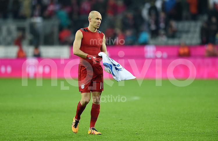 FUSSBALL  1. BUNDESLIGA  SAISON 2015/2016  24. SPIELTAG FC Bayern Muenchen - 1. FSV Mainz 05       02.03.2016 Arjen Robben (FC Bayern Muenchen) enttaeuscht nach dem Spiel