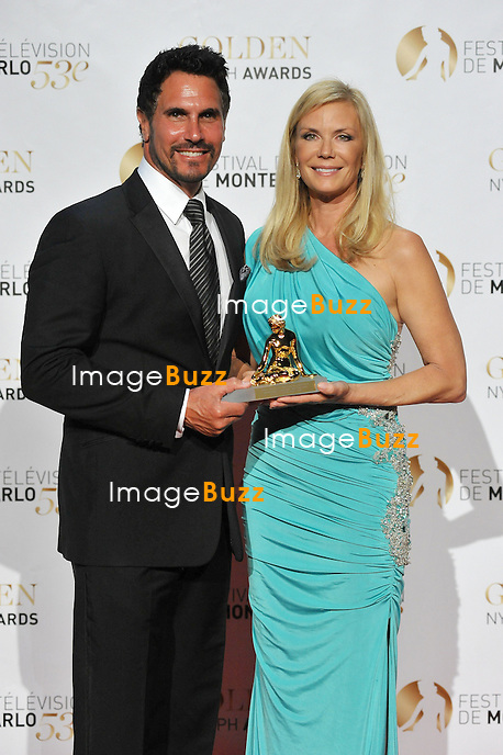 CPE/June 13, 2013-Katherine Kelly Lang and Don Diamont receive the Audience Awards during the closing ceremony of 53rd Monte-Carlo TV Festival. Golden Nymph Awards Photocall.