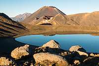 Blue Lake and Mount Ngaruhoe, Tongariro National Park, Central Plateau, North Island, UNESCO World Heritage Area, New Zealand, NZ