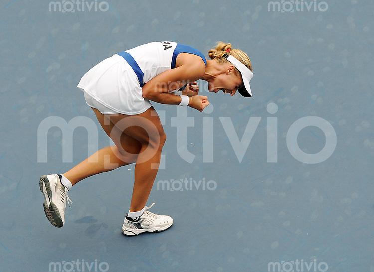 Olympia 2008  Peking   17.08.2008  Tennis Finale Damen Elena DEMENTIEVA (RUS) jubelt nach dem Matchball.