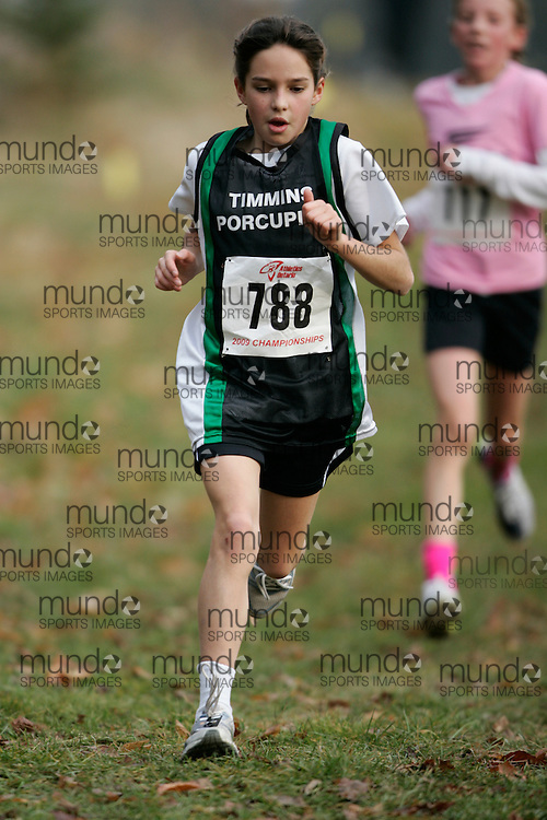 King City, Ontario ---09-11-15--- Alexa Beland of the Timmins Porcupine TFC competes at the Athletics Ontario Cross Country Championships in King City, Ontario, November 16, 2009..GEOFF ROBINS Mundo Sport Images