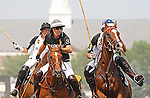 Nacho Figueras plays against Prince Harry during a polo match at Governor's Island in New York