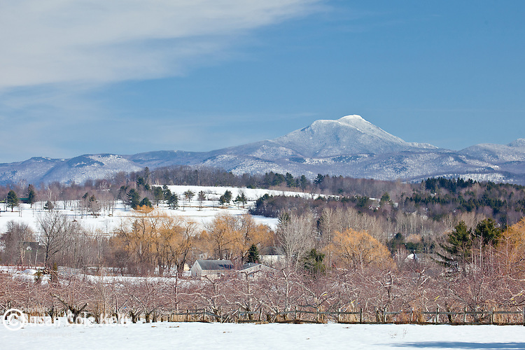 Late winter view of the Camels Hump from Williston, VT, USA