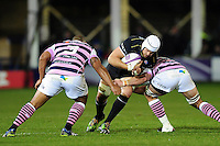 Dave Attwood of Bath Rugby takes on the Cardiff Blues defence. European Rugby Challenge Cup match, between Bath Rugby and Cardiff Blues on December 15, 2016 at the Recreation Ground in Bath, England. Photo by: Patrick Khachfe / Onside Images