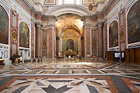 "The interior of this ancient basilica was once part of the biggest ""terme"" in ancient Rome - Terme di Diocleziano. It was transformed into the S. Maria degli Angeli and dei Martiri church in XVI century according to Michelangelo project. This ancient basilica is standing beside Piazza della Repubblica in Rome, Italy.   ."