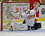 25 October 2008: University of Vermont Catamount goaltender Kristen Olychuck, a Junior from Kelowna, B.C., gives one up in the second period against the Cornell University Big Red at Gutterson Fieldhouse, in Burlington, Vermont. The Big Red defeated the Catamounts 5-1 to sweep their 2-game series in Vermont...Mandatory Photo Credit: Ed Wolfstein Photo