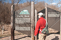A sign for the geological formation Castle Rock along the Castle Rock Creek trout stream in the Driftless Area of southwest Wisconsin.