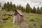 Weathered wooden leaning outhouse at an abandoned homestead in the woods.