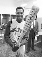 Cincinnati Reds slugger Vada Pinson,( 1966 photo by Ron Riesterer)