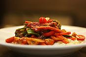 May 29, 2010.  Chapel Hill, North Carolina.  .Vegan Pasta dish served at Butternut Squash.