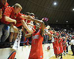 Mississippi's Terrence Henry celebrates followaing a game vs. Memphis in NIT second round basketball action at the C.M. &quot;Tad&quot; Smith Coliseum in Oxford, Miss. on Friday, March 19, 2010. Ole Miss won 90-81.