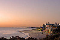 The sunset view of Cottesloe Beach from the Cottesloe Surf Lifesaving Club.