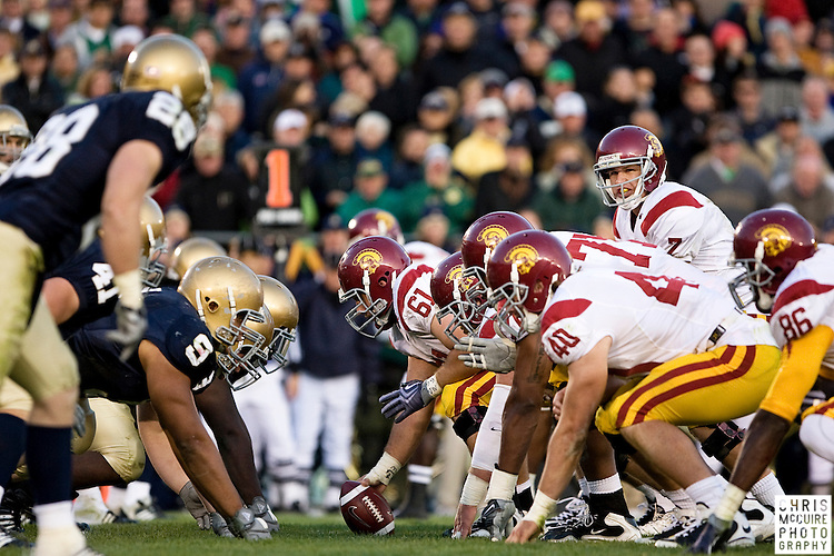 10/17/09 - South Bend, IN:  USC quarterback Matt Barkley commands the line on a first and goal against Notre Dame during their game at Notre Dame Stadium on Saturday.  USC won the game 34-27 to extend its win streak over Notre Dame to 8 games.  Photo by Christopher McGuire.