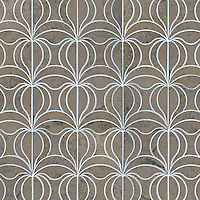Calla, a natural stone waterjet mosaic shown in Jura Grey honed, is part of the Miraflores Collection by Paul Schatz for New Ravenna Mosaics.<br />