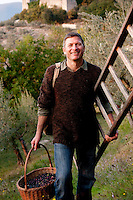 Dr Rodney Lokaj, Medieval Philologist, in the olive grove at 'I Cerri', Spoleto, Umbria, Italy