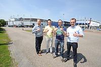 SCHAATSEN: HEERENVEEN: 06-06-2013, IJSSTADION THIALF, actiegroep thialf-moetblijven.nl te gast in Thialf, v.l.n.r. Hedser Kok, Remco Folkerts, Bas Altena, Peter van Gool, ©foto Martin de Jong