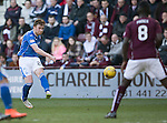 Hearts v St Johnstone&hellip;19.03.16  Tynecastle, Edinburgh<br />Liam Craig&rsquo;s shot hits the crossbar<br />Picture by Graeme Hart.<br />Copyright Perthshire Picture Agency<br />Tel: 01738 623350  Mobile: 07990 594431
