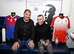 Fernando Ricksen this afternoon as the players strips for his Rangers Legends v England Select benefit match are revealed. The match in Fleetwood on March 25th will raise funds for Moror Neurone research. Fernando with match organiser Stan Gordon