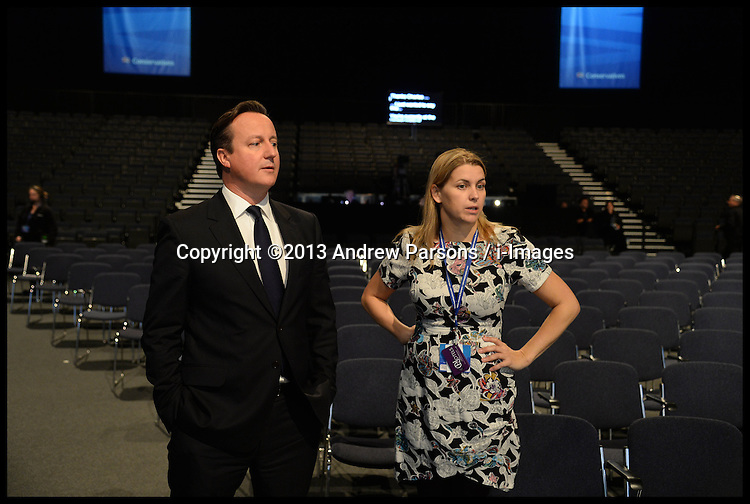 The Prime Minister David Cameron doing a sound check in the hall during the Conservative Party Conference in Manchester,United Kingdom. Sunday  29th September 2013. Picture by Andrew Parsons / i-Images