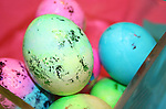Easter eggs colored with pastel dye and sparkle foil