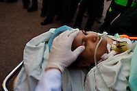 Rafah, Egypt, Jan 10 2009.A trickle of Palestinian casualties are evacuated from the overloaded hospitals in Gaza to receive treatment in Egypt. In observance with Egyptian-Israeli security agreements, the Rafah border crossing remains closed except for humanitarian goods, no one is allowed to cross. On the 15th day of the Israeli operation in Gaza, one and a half million people are still deprived of electricity and basic supplies, as well as being unable to flee from the densely populated combat zone.