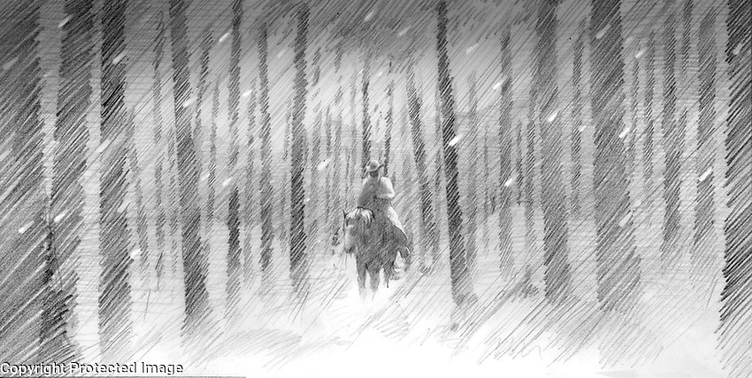Sheriff Bell (Tommy Lee Jones) has a dream of riding a horse through a snowy forest at night. This was cut from the film.