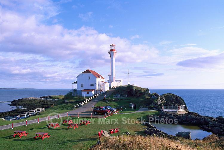 Cape Forchu Lightstation (built 1962) near Yarmouth, Nova Scotia, Canada - Lighthouse / Light House on Volcanic Rock Coastline (Headland) - Yarmouth & Acadian Shores Region