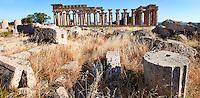 Greek Dorik column drums fallen at Temple F at Selinunte, Sicily