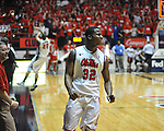 Ole Miss' Jarvis Summers (32) celebrates the win vs. Missouri at the C.M. &quot;Tad&quot; Smith Coliseum on Saturday, January 12, 2013. Ole Miss defeated #10 ranked Missouri 64-49.