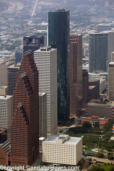 aerial photograph Wells Fargo Plaza, Bank of America Center and other Houston skyscrapers, Houston, Texas