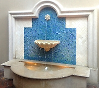Random Cut jewel glass mosaic in Peacock Topaz is shown here as a custom fountain designed by <br />