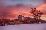 Idaho, North, Kootenai County, Coeur D'Alene. The Coeur d'Alene Resort under a winter sunset.