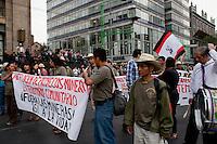 Members of the Community Police march in Mexico City on March 13th, 2013, against opencast mining projects in indigenous community territory / Miembros de la Policía Comunitaria marchan en la Ciudad de México el 13 de marzo de 2013, contra los proyectos de minería a cielo abierto en territorio comunitario indígena. (Prometeo Lucero)