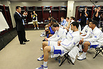 31 MAR 2012: The University of Kentucky head coach John Calipari addresses his players following their victory at the Semifinal Game of the 2012 NCAA Men's Division I Basketball Championship Final Four held at the Mercedes-Benz Superdome hosted by Tulane University in New Orleans, LA. Ryan McKeee/ NCAA Photos.