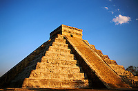Mexico, Chichen Itza. El Castillo. El Castillo also known as Kulkulcan Temple built 800AD of stone and used as a Mayan Calendar Mexico Yucatan Chichen Itza