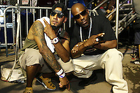 BRONX, NEW YORK - AUGUST 13, 2016Swizz Beatz & DMX backstage at  Bacardi x Dean Collection No Commission Art event, August 13, 2016  in The Bronx, New York. Photo Credit: Walik Goshorn / Mediapunch