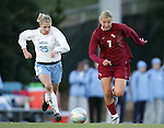 Florida State's Viola Odebrecht (7) and UNC's Lindsay Tarpley (25) chase the ball on Friday, November 25th, 2005 at Fetzer Field in Chapel Hill, North Carolina. The Florida State Seminoles defeated the University of North Carolina Tarheels 5-4 on penalty kicks after the teams tied 1-1 after overtime during their NCAA Women's Soccer Tournament quarterfinal game.
