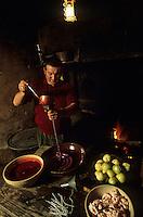 Europe/France/Limousin/23/Creuse/Cressat: Tuade du cochon &agrave; la ferme lors de la Saint-Cochon. Pr&eacute;paration du boudin creusois<br /> PHOTO D'ARCHIVES // ARCHIVAL IMAGES<br /> FRANCE 1990