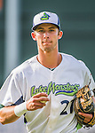 31 July 2016: Vermont Lake Monsters infielder Eli White returns to the dugout during a game against the Connecticut Tigers at Centennial Field in Burlington, Vermont. The Lake Monsters edged out the Tigers 4-3 in NY Penn League action.  Mandatory Credit: Ed Wolfstein Photo *** RAW (NEF) Image File Available ***