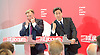 Ed Miliband <br /> leader of the Labour Party <br /> speech at RIBA Royal Institute of British Architecture, London, Great Britain <br /> 29th April 2015 <br /> General Election Campaign 2015 <br /> <br /> <br /> Ed Miliband with Ed Balls<br /> <br /> Photograph by Elliott Franks <br /> Image licensed to Elliott Franks Photography Services