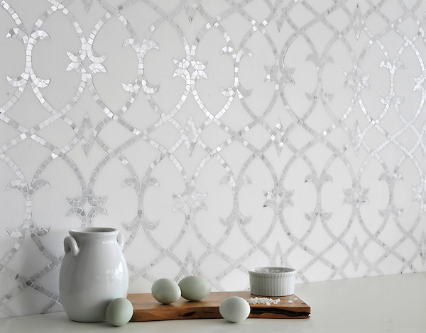 Avila, a handmade mosaic shown in honed Thassos and polished Statuarietto, is part of the Miraflores Collection by Paul Schatz for New Ravenna.<br />