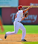 12 March 2011: Washington Nationals' infielder Danny Espinosa turns a double-play during a Spring Training game against the New York Yankees at Space Coast Stadium in Viera, Florida. The Nationals edged out the Yankees 6-5 in Grapefruit League action. Mandatory Credit: Ed Wolfstein Photo