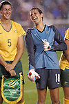 27 April 2008: Lydia Williams (AUS) (right) and Cheryl Salisbury (AUS) (left) share a pregame laugh. The United States Women's National Team defeated the Australia Women's National Team 3-2 at WakeMed Stadium in Cary, NC in a women's international friendly soccer match following a brief delay for lightning.